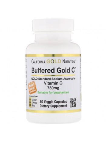 California Gold Nutrition, буферизованный витамин C в капсулах, 750 мг, 60 капсул