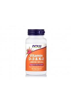 Now  Vitamin D3 и K2, 45 мкг (1000 МЕ), 120 растительных капсул